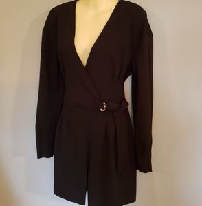 Black Romper Sz 8 Surplice Shorts Long Sleeve